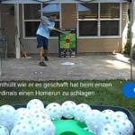 Pitching Machine wirft locker 90kmh und Curveballs. Vom Vater erfunden. Unter 200 Euro.